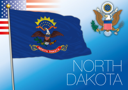 North Dakota federal state flag, United States Vector illustration. Illustration