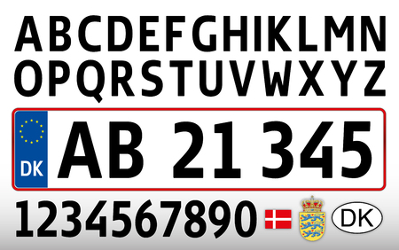 Danish car plate, letters, numbers and symbols