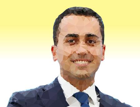 ROME, ITALY, MARCH 2018 - Luigi Di Maio, polygonal portrait, graphic elaboration, Italian political elections 2018 Editoriali