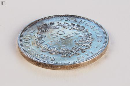 Silver collectible coin of 50 francs, France 1977 Archivio Fotografico