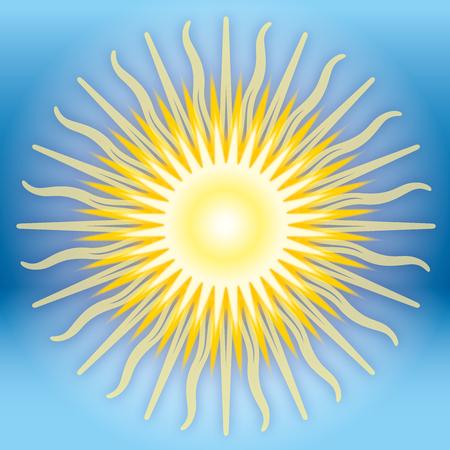 Sun on the sky, graphic illustration