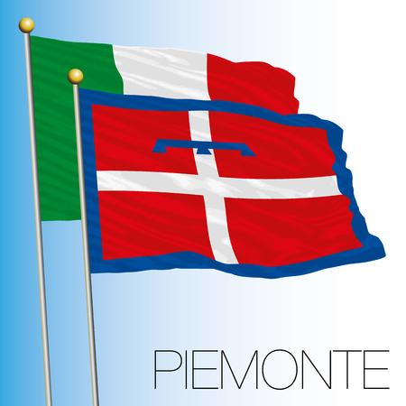 Piedmont regional flag, Italian Republic, European Union flag icon. Illustration