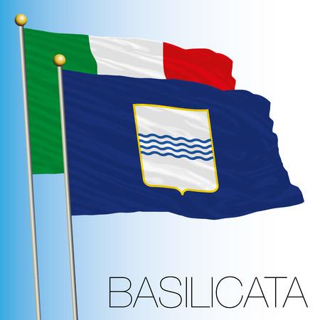 Basilicata regional flag, Italian Republic, Italy, European Union Vettoriali