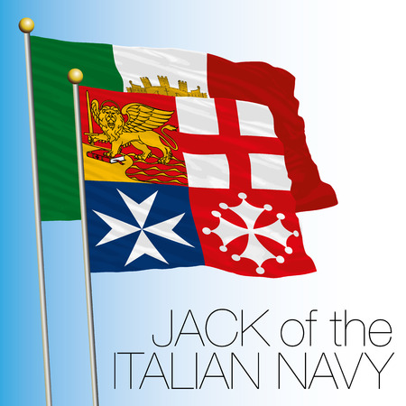 Italian Jack Navy flag, Italy, Navy  イラスト・ベクター素材