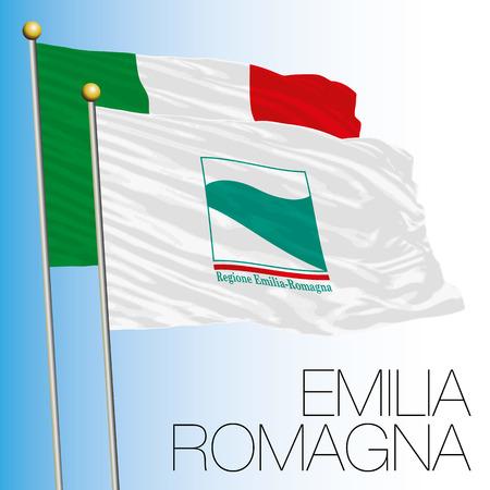 Emilia Romagna regional flag, Italian Republic, European Union flag icon.