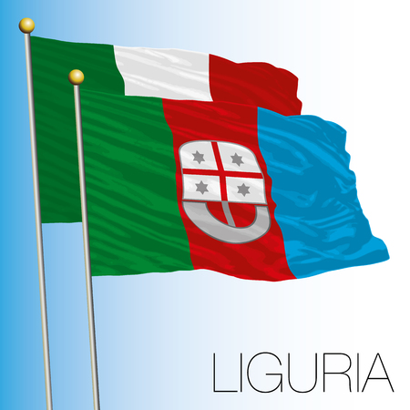 Liguria regional flag, Italian Republic, European Union flag icon.