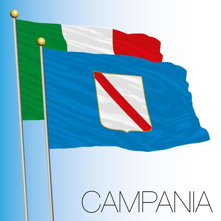 Campania regional flag, Italian Republic, Italy, European Union