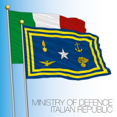 Minister of defense flag, Italian republic, Italy Vectores