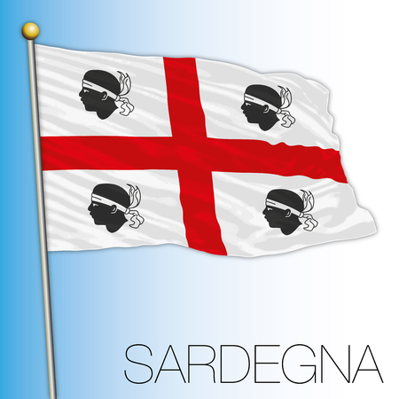 Regionale vlag van Sardinië, Italiaanse Republiek, Italië, Europese Unie Vector Illustratie
