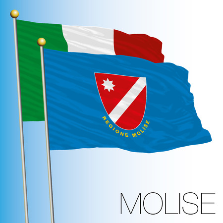 Molise regional flag, Italian Republic, European Union flag icon. 向量圖像