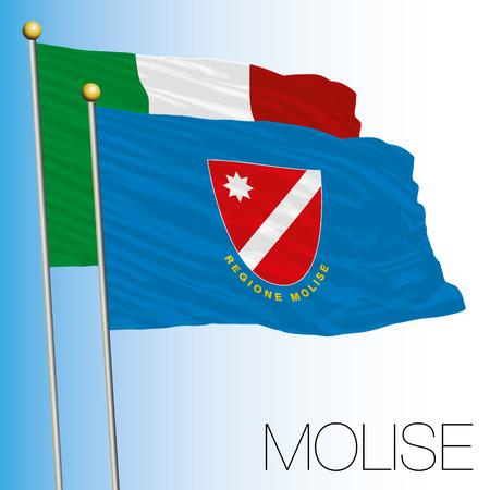 Molise regional flag, Italian Republic, European Union flag icon. Illustration