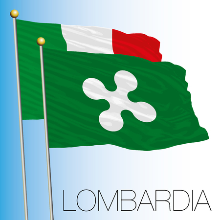 Lombardy regional flag, Italian Republic, European Union flag icon. Vettoriali