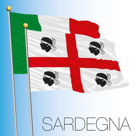Sardinia regional flag, Italian Republic, European Union flag icon.
