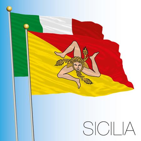 Sicily regional flag, Italian Republic, Italy, European Union