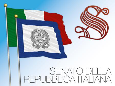 Senate of the Italian Republic flag, Government of Italy symbol Vettoriali
