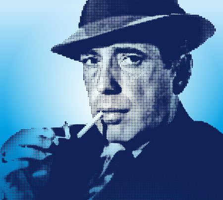 Humphrey Bogart portrait, graphic elaboration