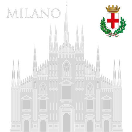 Milan Dome Cathedral, Lombardy, Italy, with coat of arm of the City