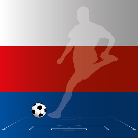 Russian soccer player with Russia flag on background