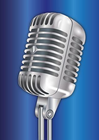 Vintage microphone 50 years, vector illustration Vettoriali