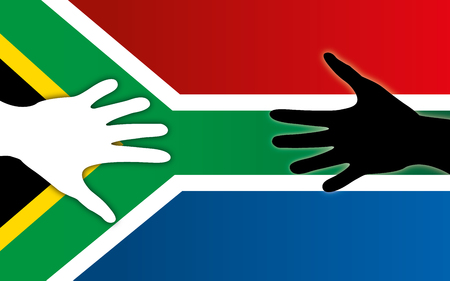 South Africa flag with colored and white hands for peace.