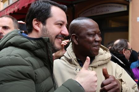 MODENA - ITALY, FEBRUARY 20, 2018: Matteo Salvini, public politic conference Lega Nord Editoriali