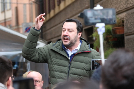 MODENA - ITALY, FEBRUARY 20, 2018: Matteo Salvini, public politic conference Lega Nord Editorial