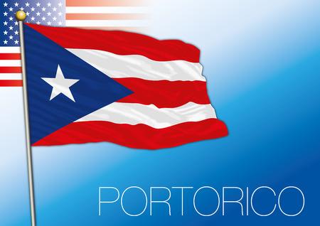 Puerto Rico US territory flag, United States. Illustration