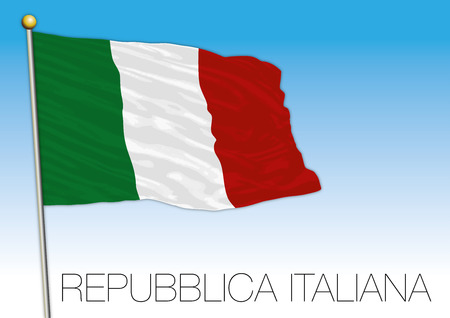 Republic of Italy, flag on the blue sky, vector illustration