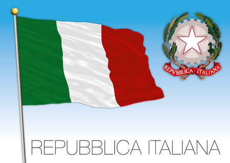 Republic of Italy. Flag and coat of arms on blue sky vector illustration