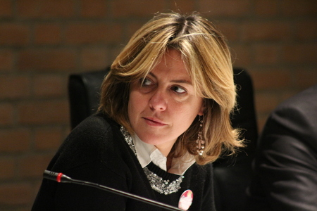 MODENA, ITALY - FEBRUARY 24, 2018 - Beatrice Lorenzin, Minister of Health, public political conference Editoriali