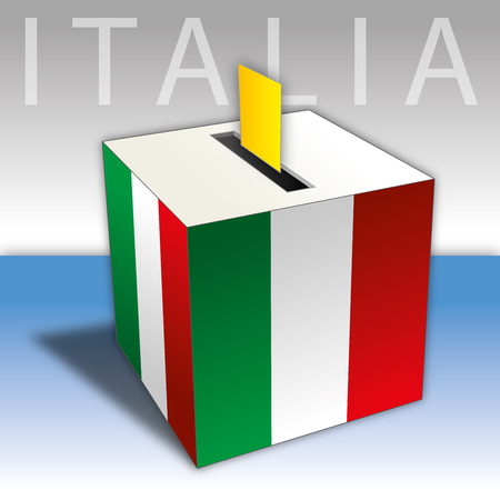 Italy, elections, voting ballot box with Italian flags.