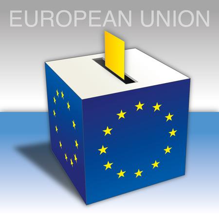 European Union elections, ballot box with EU flags