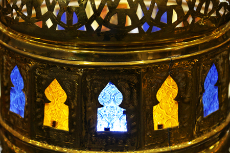 Oriental traditional souvenir lamp with colored glass
