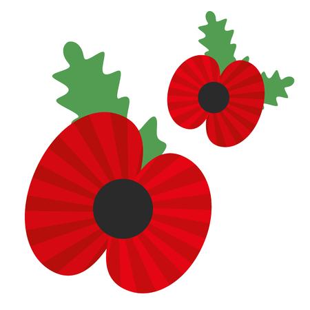 red poppy flowers vector illustration isolated on white background. Vettoriali