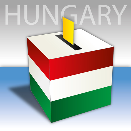 Hungary, political elections, ballot box with flag Иллюстрация