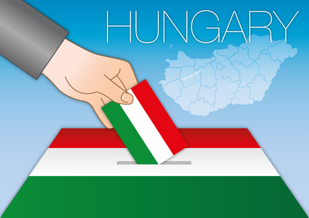 Hungary, political elections, ballot box with flag Illustration