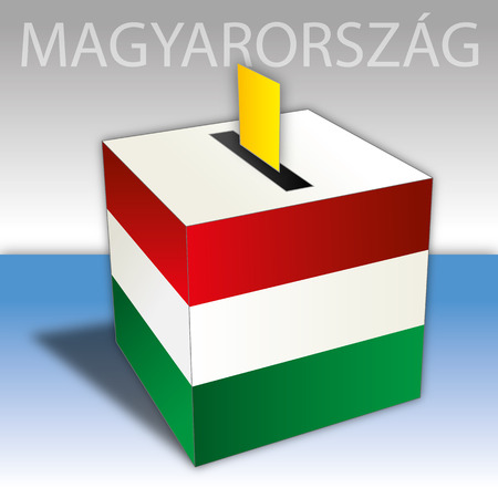 Hungary, political elections, ballot box with flag 向量圖像