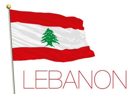 Lebanon flag isolated on white background Ilustração