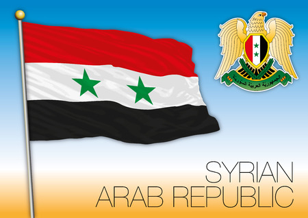 Syria republic flag and coat of arms