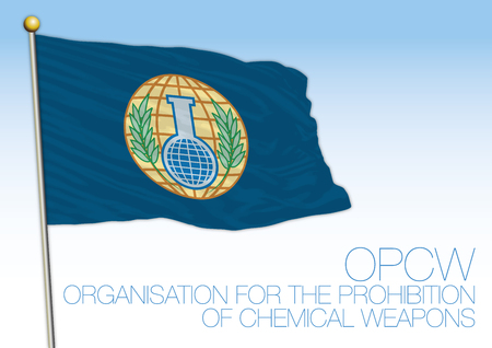 Flag of the OPCW, Organization for the Prohibition of Chemical Weapons Banque d'images - 99346152