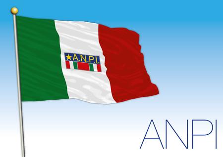 Italy, Anpi flag, historical association illustration.