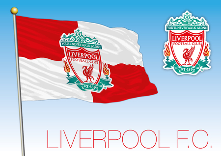 Liverpool football club flag and crest, European championship 2018 Archivio Fotografico - 102659089