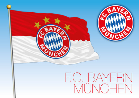 Bayern Munich football club flag and crest, European championship 2018 Archivio Fotografico - 102659090