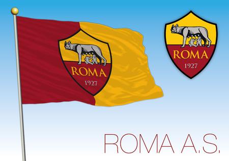 Rome AS flag and crest, European championship 2018 Archivio Fotografico - 102659092