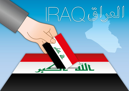 Iraq elections, box vote with flag, map and symbols Archivio Fotografico - 101117328