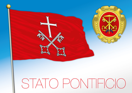 Papal state historical flag and coat of arms, Vatican City