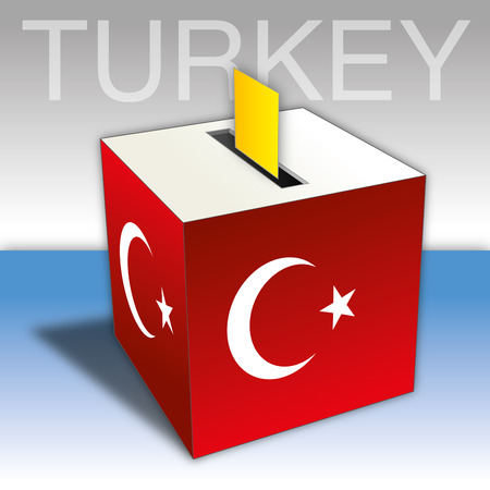 Turkey, ballot box with flag and symbols