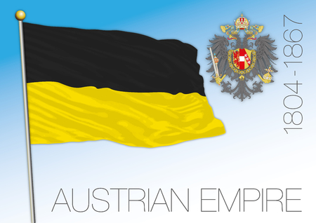 Austrian Empire historical flag and coat of arms, Austria, 1804-1867 Archivio Fotografico - 102050810