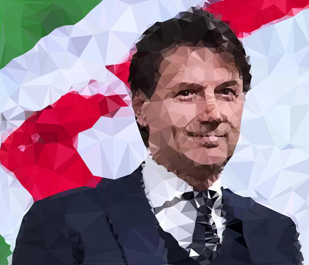 ROME, ITALY, MAY 2018: Giuseppe Conte, new italian President of the government, vector illustration, polygonal graphic elaboration, editorial Archivio Fotografico - 102659149