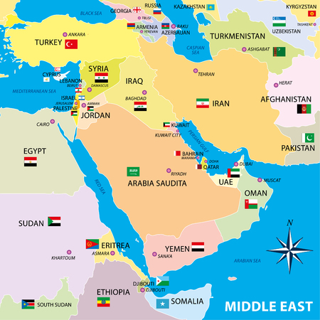 Middle east map with borders and flags Archivio Fotografico - 102554353